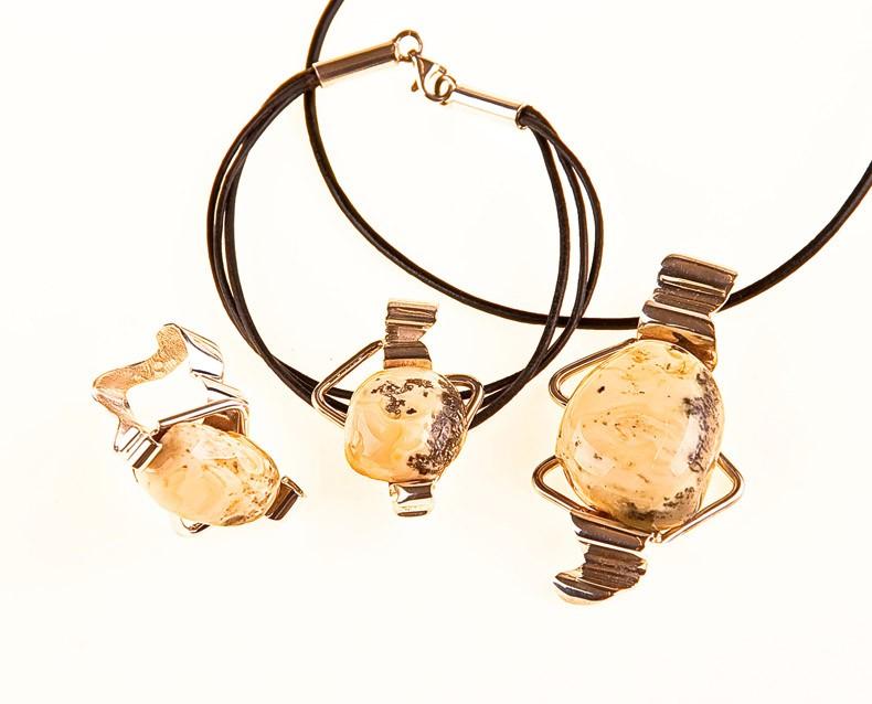 Bernstein Silber Set (Anhänger, Ring, Armband) mit Lederhalsband.UNIKAT