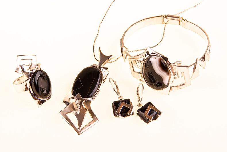 Onyx-Silber Set- Ring und Armband (Anhänger und Ohrringe verkauft) mit Silberkette.UNIKAT