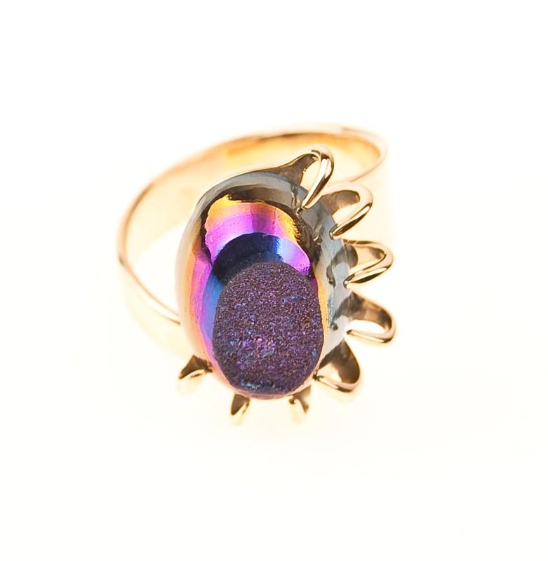 Achat Druzii Ring, vergoldet.UNIKAT