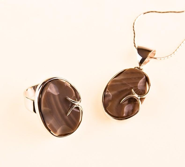 Malachit Silber Set (Anhänger, Ring) mit Silberkette.UNIKAT